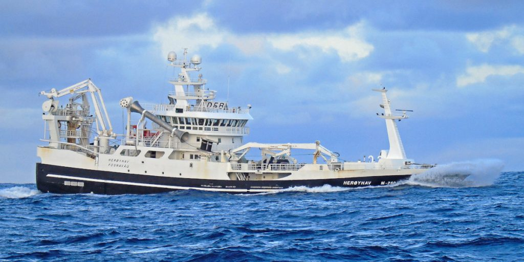 The Norwegian midwater trawler Herøyhav making in to land after fishing blue whiting west of Ireland. (Ryan Cordiner)