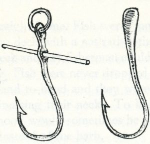 The hooks on hand-lines sometimes had a pin to prevent the cod swallowing it completely.