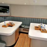 Twin tables are arranged in the messdeck.