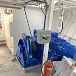 10t derrick winches driven by 30kW motors are housed in separate main deck compartments in the fo'c'sle.