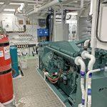 A Mitsubishi S6A3 driving a 540kVA generator is run when hauling the gear.