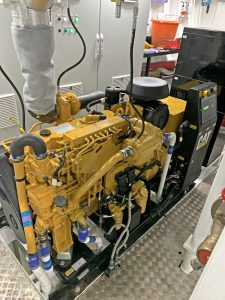 A 185kVA Leroy Somer generator is driven by a Caterpillar C7.1 auxiliary engine.