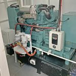 An air-cooled Mitsubishi S4K 70kVA genset is housed in the fo'c'sle.