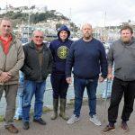 The Torquay fishermen: left to right – Trevor Parnell, Clive Baker, James Corbett, Darren Corbett and Matthew Ould.