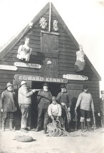 The Old Company of Lowestoft, looking suitably nautical outside their shed in the 1890s. A lookout tower was added in the early 20th century.