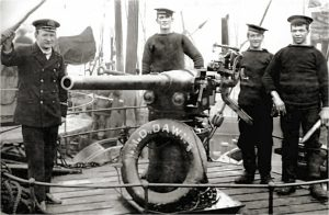 Skipper Edward Spencer Rilatt the third (left) with gun crew on the HMD Dawn. Edward Rilatt was from a well-known Hull fishing family and was one of many recruited into the RNR during the First World War. He was nicknamed 'Mad' because of his explosive temper – towards both the Germans and Royal Navy officers!