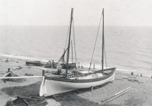 Nice lines – a yawl on Southwold beach around 1890.
