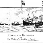 A Christmas card depicting a flotilla of minesweepers and other craft, sent home by Royal Naval reservist Jonathan Grobler from 'somewhere off France'.