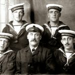 A crew of Royal Naval reservists, typical of the thousands of fishermen who served in the Royal Navy in the First World War, mainly on minesweepers.