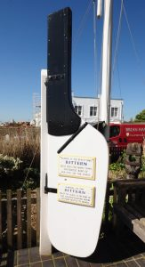 The rudder of the Bittern, a noted racing yawl, outside the Sailors' Reading Room in Southwold.