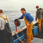 Roseanne's crew jigging while the nets fish.