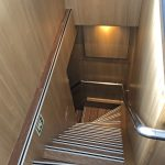 Aalskere features a high level of internal finish, as shown by the stairs leading down from the wheelhouse to the skipper's ensuite cabins at shelterdeck level.