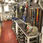 The engineer's workshop and store aft on the main deck.