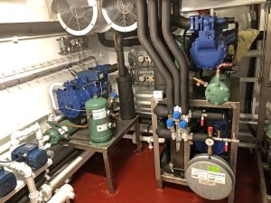 Compressors for the fishroom deckhead and floor chilling systems and Buus 4.5t flake ice machines.