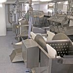 Dedicated rotary fish washers serve the two KM gutting machines.