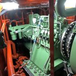 … and Hundested 8.36:1 reduction gearbox, off which the vessel's main hydraulic system is run from load-sensing pumps.