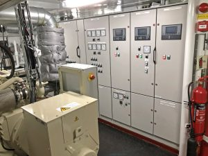 Two Cummins QSB7-based generators feed into Aalskere's integrated electrical distribution system.
