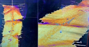 SeapiX 3D hardness mapping showing fish on edges of clean ground. Each dot shows individual fish biomass.