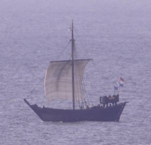 A Dutch replica visited in 2015, seen here on 10 May that year, working along the Norfolk coast on a spring easterly.