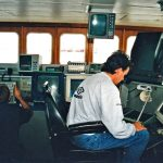 Daystar skipper Zander West and mate Wilson Stephen focus on the sonar and net-sounder…
