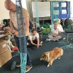 Learning how to make nets in an informal class setting at the Lyme Bay Fishing College.