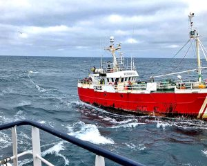 The German-registered netter Pesorsa Dos running up Alison Kay's port side streaming a buoyed rope, in an attempt to foul the trawler's propeller…