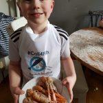 Tudor Evans' grandsons and assistant chefs Bodhe Webb, on prawns…