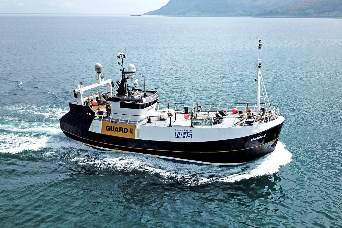 Proudly supporting the NHS, the guard boat Gleaner II approaches Redcastle after crossing the Irish Sea from Campbeltown to have some electronics work carried out by i-Fish. (Stephen Jones)