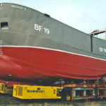 Amethyst II, showing her large displacement hull form, ready for launching on Teesside.