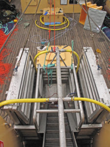 Looking down on Georgina of Ladram's deck and the extending reception hoppers/catch conveyor during preparation for the beamer's first trip.