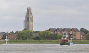 … and head down The Haven, with the Boston Stump astern…