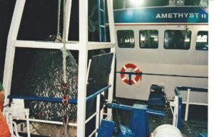 Taking a codend aboard on Amethyst II.