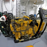 The Caterpillar C4.4 harbour genset in the forward store.