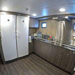 Cook Steve Rees' well-equipped galley.