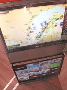 The MaxSea TimeZero set and the CCTV monitor built into the control console.