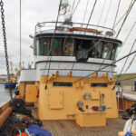 The 10-drum trawl winch is housed in a compartment under the wheelhouse. (Photo: Hanneke de Boer)