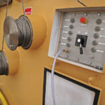 The deck control box for the main winch and the two landing winch drums.
