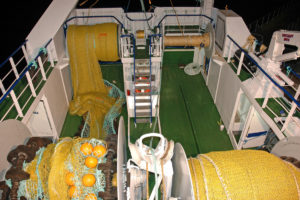Gear-handling arrangements on the shelterdeck of Ocean Harvest.