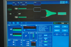 The information display from the Scantrol Ispool auto pair-seine system.