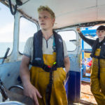 Ethan keeps a watchful eye from the wheelhouse as Vigilante steams back to Old Portsmouth…