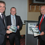 SPFA chairman Andra Tait (right) and secretary Derek Duthie with Scottish fisheries minister Richard Lochhead at a celebratory dinner to mark the association's 75th anniversary.