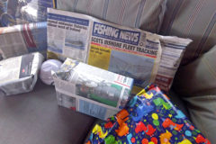 Fishing News to the rescue at Fenit, Co Kerry after six-year-old Diarmuid O'Brien's mum and dad – who fishes on Ocean Dawn T 467 – ran out of wrapping paper for his birthday presents. (Mary O'Brien)