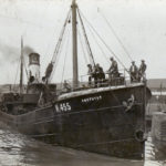 Amethyst, pictured leaving Hull's fish dock, was lost with all hands in a heavy gale in the North Sea in January 1937.