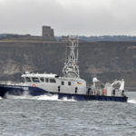 NEIFCA's fisheries patrol vessel North Eastern Guardian III heading south between Cara Lee and Scarborough Castle.