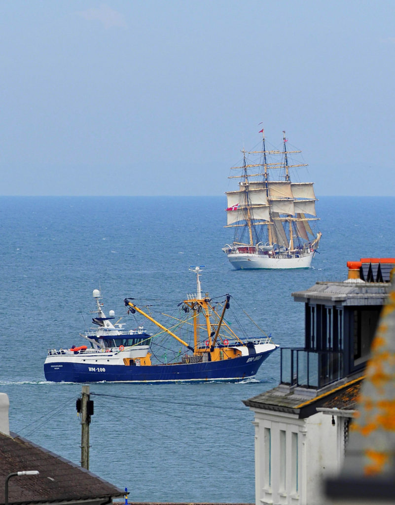 The new Brixham beam trawler Georgina of Ladram, chasing pirates off Brixham! (Alan Letcher)