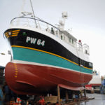 Isabelle, almost ready for launch, has been painted to match the Trevose of Newquay, and has also inherited its registration PW 64.