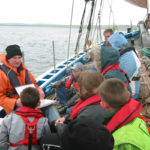 Andrew Halcrow teaches pupils about the Swan on a school trip in 2003.
